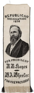 Political:Ribbons & Badges, Rutherford B. Hayes: Woven Silk Portrait Ribbon....