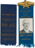 Political:Ribbons & Badges, [William McKinley]: Morgan Bulkeley Baseball HOF Hopeful Ribbons....