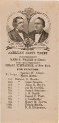 Political:Small Paper (pre-1896), Walker & Kirkpatrick: 1876 American Party Jugate Ballot....