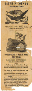 Political:Ribbons & Badges, William Henry Harison: Rare Lancaster County Convention Ribbon....