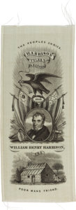 "Political:Ribbons & Badges, William Henry Harrison: ""Poor Man's Friend"" Silk Portrait Ribbon...."