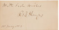 Autographs:U.S. Presidents, Rutherford B. Hayes: Autographed Personal Calling Card....