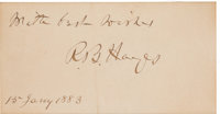 Rutherford B. Hayes: Autographed Personal Calling Card