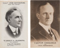 Political:Small Paper (1896-present), Harding & Coolidge: Pair of Postcards.... (Total: 2 Items)
