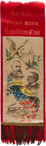"Political:Ribbons & Badges, Harrison & Morton: ""Two-Ply"" Jugate Ribbon from New Haven...."
