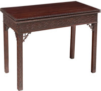 A Georgian Mahogany Flip-Top Games Table, England, late 18th-early 19th century 38-1/2 x 35 x 17 inches (97.8 x 88