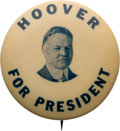 Political:Pinback Buttons (1896-present), Herbert Hoover: Scarce Picture Pin....
