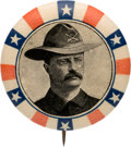 Political:Pinback Buttons (1896-present), Theodore Roosevelt: Circa 1900 Rough Rider Picture Pin....