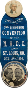 Political:Pinback Buttons (1896-present), Bryan & Sewall: Minty St. Louis Convention Jugate Badge. ...