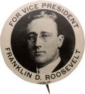 Political:Pinback Buttons (1896-present), Franklin D. Roosevelt: Real Photo 1920 Vice Presidential Pin. ...