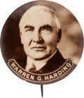 """Political:Pinback Buttons (1896-present), Warren G. Harding: Large 1 3/4"""" Real Photo Picture Pin...."""