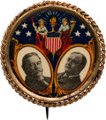 Political:Pinback Buttons (1896-present), Taft & Sherman: One of the Most Colorful 1908 Jugate Designs. ...