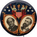 Political:Pinback Buttons (1896-present), Bryan & Kern: One of the Most Colorful 1908 Jugate Designs.. ...