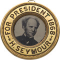 Political:Ferrotypes / Photo Badges (pre-1896), Horatio Seymour: Back-to-Back Ferrotype.. ...
