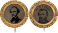 Political:Ferrotypes / Photo Badges (pre-1896), Ulysses S. Grant and Horatio Seymour: Pair of Scallop-Frame Ferrotypes.... (Total: 2 Items)