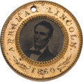 Political:Ferrotypes / Photo Badges (pre-1896), Abraham Lincoln: Pristine Back-to-Back Ferrotype....