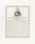 Political:Posters & Broadsides (pre-1896), John Tyler: Highly Important Pictorial Broadside Address [Only Known Example of the Type].. ...