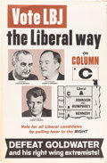 Political:Posters & Broadsides (1896-present), Johnson & Humphrey & Kennedy: New York Liberal PartyTrigate Poster....