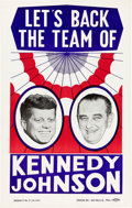 Political:Posters & Broadsides (1896-present), Kennedy & Johnson: Colorful and Scarce Jugate Placard....