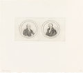 Political:Small Paper (pre-1896), John Quincy Adams and Andrew Jackson: Pewter Rim Inserts....