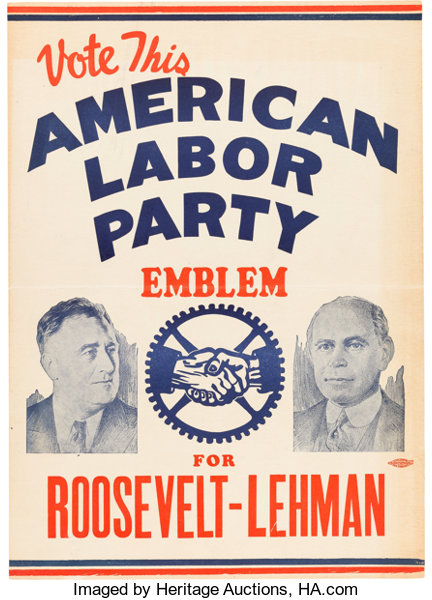 Roosevelt & Lehman: Small American Labor Party Jugate | Lot