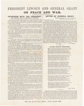 Political:Small Paper (pre-1896), Abraham Lincoln: Two-Sided 1864 Campaign Handout. ...