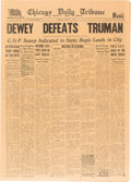 "Political:3D & Other Display (1896-present), Harry S Truman: Infamous ""Dewey Defeats Truman"" Newspaper.. ..."