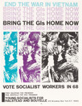 Political:Posters & Broadsides (1896-present), Fred Halstead: Socialist Workers Party Anti-War Poster....