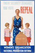 Political:Posters & Broadsides (1896-present), [Franklin D. Roosevelt]: Anti-Prohibition 1932-Dated Graphic Poster....