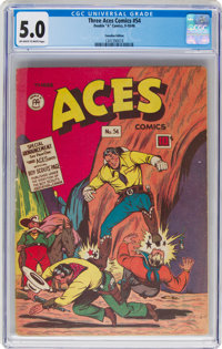 """Three Aces Comics #54 Canadian Edition (Double """"A"""" Comics, 1946) CGC VG/FN 5.0 Off-white to white pages"""
