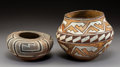 American Indian Art:Pottery, Two Acoma Polychrome Jars. c. 1905 and 1910... (Total: 2 Items)