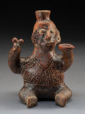 Pre-Columbian:Ceramics, A Colima Seated Hunchback with Rattle and Bowl ...