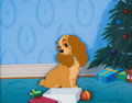 Animation Art:Production Cel, Lady and the Tramp Lady Production Cel and PaintedBackground (Walt Disney, 1955)....