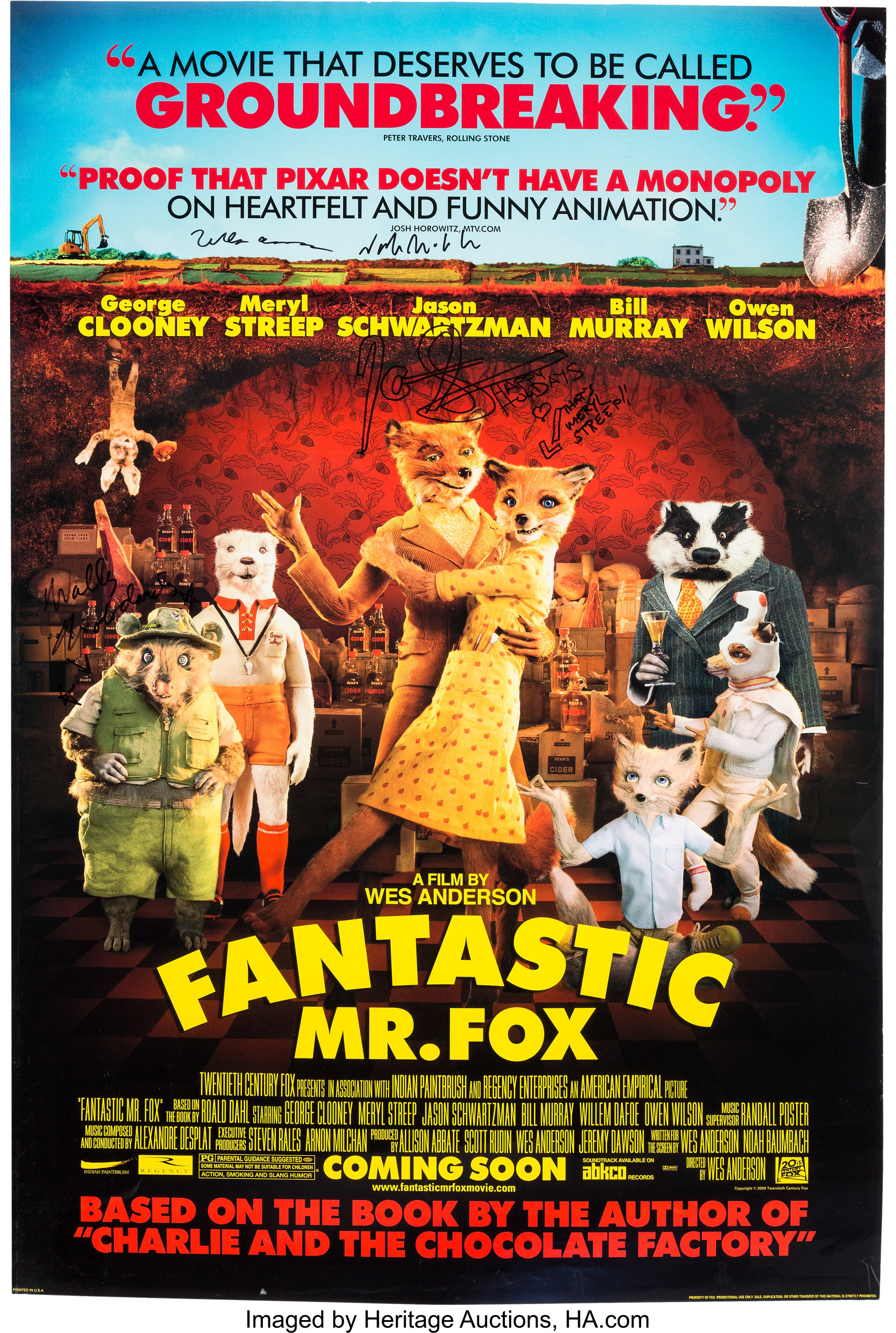 The Fantastic Mr Fox Signed Theatrical Poster Fox Studios Lot 96385 Heritage Auctions