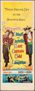 "Movie Posters:Comedy, Abbott and Costello Meet Captain Kidd (Warner Brothers, 1953).Folded, Fine/Very Fine. Insert (14"" X 36""). Comedy.. ..."