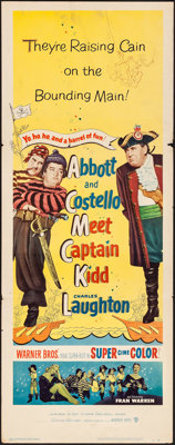 "Abbott and Costello Meet Captain Kidd (Warner Brothers, 1953). Folded, Fine/Very Fine. Insert (14"" X 36""). Com..."