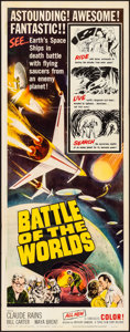 "Movie Posters:Science Fiction, Battle of the Worlds (Topaz, 1963). Folded, Very Fine. Insert (14""X 36""). Science Fiction.. ..."
