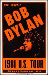 "Bob Dylan U.S. Tour (CBS Records, 1981). Very Fine+. Silk Screen Concert Window Card (14"" X 22""). Rock and Rol..."