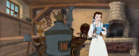 Beauty and the Beast Pan Production Background with Belle Presentation Cel (Walt Disney, 1991)