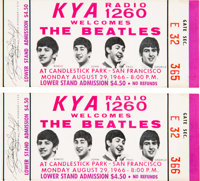 The Beatles Unused Pair of Candlestick Park Concert Tickets (1966)