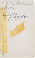 Music Memorabilia:Autographs and Signed Items, George Harrison Autograph with Hair (1964).  A...