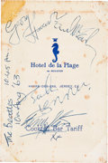 The Beatles Signed Hotel de la Plage Menu (1963)