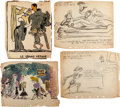Animation Art:Production Drawing, Disney In-Studio Gag Paintings and Drawings by Jesse Marsh Group of14 (Walt Disney, c. 1940s).... (Total: 14 Items)