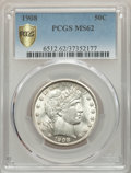 Barber Half Dollars, 1908 50C MS62 PCGS Gold Shield. PCGS Population: (29/128 and 0/3+). NGC Census: (30/79 and 0/1+). MS62. Mintage 1,354,545....