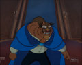 Animation Art:Painted cel background, Beauty and the Beast/Belle's Magical World ProductionBackground and Beast Cel (Walt Disney, 1991/1998)....