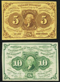 Fractional Currency:First Issue, Fr. 1230 5¢ First Issue Choice New;. Fr. 1242 10¢ First IssueChoice New.. ... (Total: 2 notes)