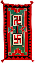 American Indian Art:Weavings, A Navajo Germantown Double Saddle Blanket. c. 1900...