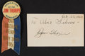 Football Collectibles:Others, 1940-57 Jim Thorpe Signed Index Card & Ribbon.... (Total: 2 items)