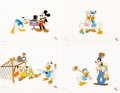 Animation Art:Limited Edition Cel, Donald Duck's 50th Birthday Limited Edition Suite of 4 Cels plusPresentation Box (Walt Disney, 1984).... (Total: 5 I...