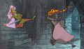 Animation Art:Production Cel, Robin Hood Robin Marian and The Sheriff of NottinghamProduction Cel Setup on Master Production Background (Walt Disne...